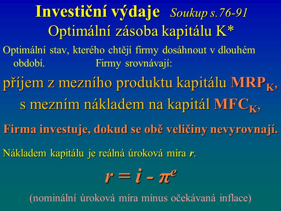 Investiční výdaje Soukup s.76-91 Optimální zásoba kapitálu K* Optimální stav, kterého chtějí firmy dosáhnout v dlouhém období. Firmy srovnávají: příje