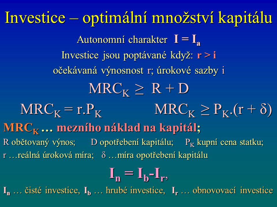 Investice – optimální množství kapitálu Autonomní charakter I = I a Investice jsou poptávané když: r > i očekávaná výnosnost r; úrokové sazby i MRC K