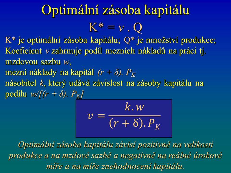 Optimální zásoba kapitálu K* = v. Q K* je optimální zásoba kapitálu; Q* je množství produkce; Koeficient v zahrnuje podíl mezních nákladů na práci tj.