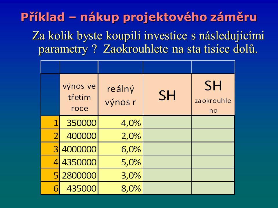 Za kolik byste koupili investice s následujícími parametry ? Zaokrouhlete na sta tisíce dolů. Za kolik byste koupili investice s následujícími paramet