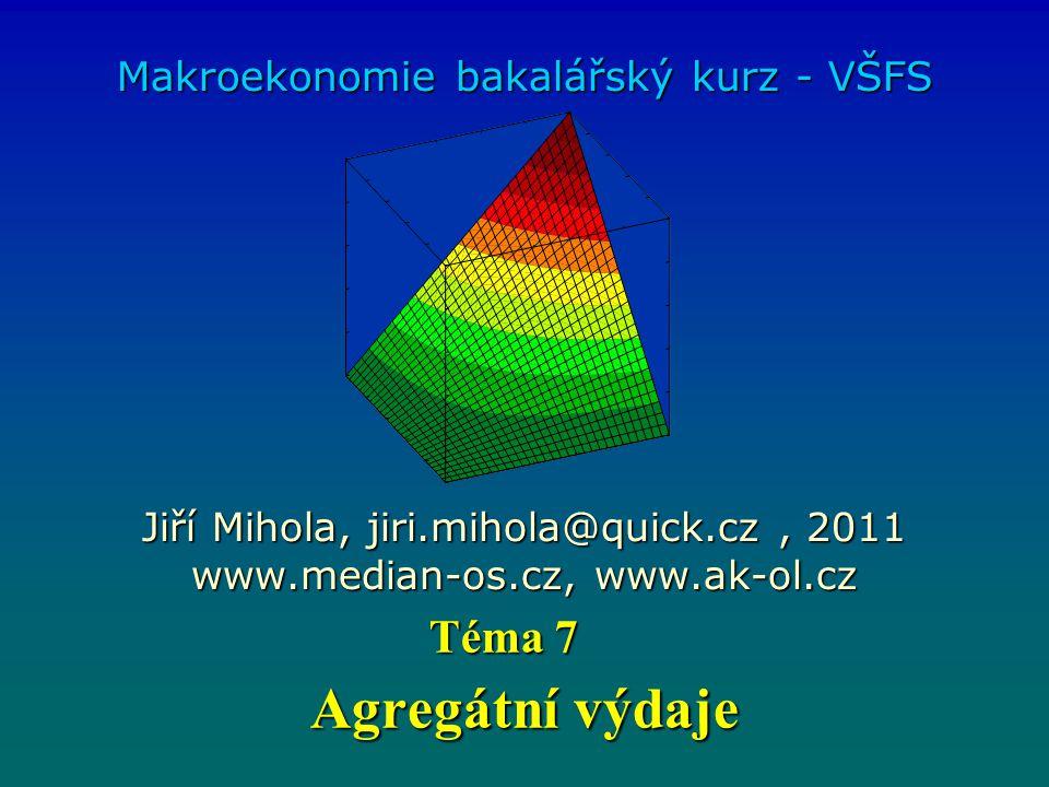 Agregátní výdaje Makroekonomie bakalářský kurz - VŠFS Jiří Mihola, jiri.mihola@quick.cz, 2011 www.median-os.cz, www.ak-ol.cz Téma 7