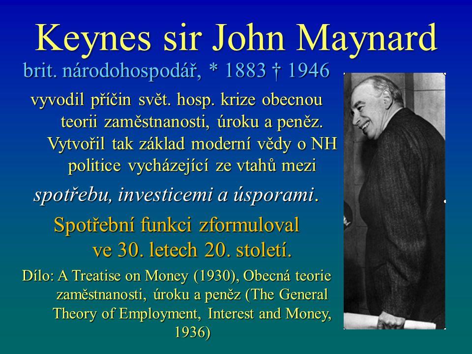 Keynes sir John Maynard brit.národohospodář, * 1883 † 1946 vyvodil příčin svět.