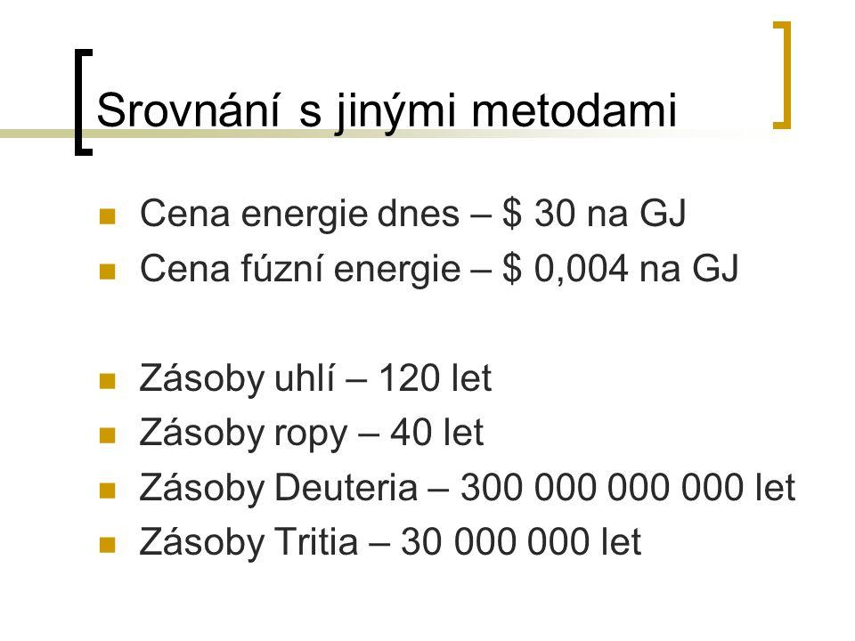 Cena energie dnes – $ 30 na GJ Cena fúzní energie – $ 0,004 na GJ Zásoby uhlí – 120 let Zásoby ropy – 40 let Zásoby Deuteria – 300 000 000 000 let Zás