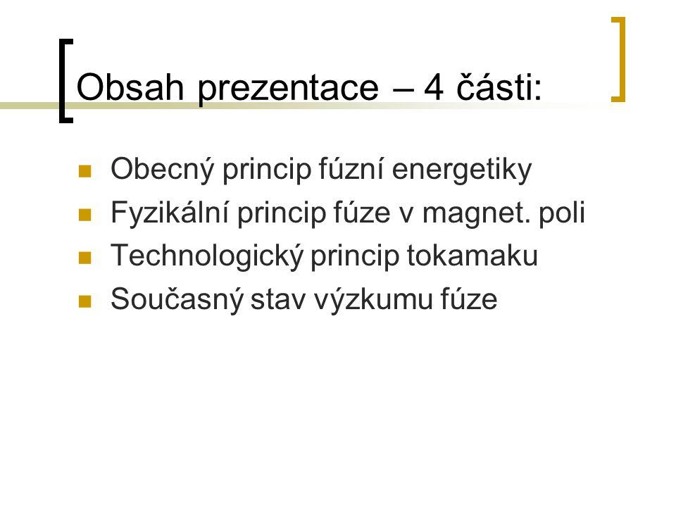Obsah prezentace – 4 části: Obecný princip fúzní energetiky Fyzikální princip fúze v magnet. poli Technologický princip tokamaku Současný stav výzkumu