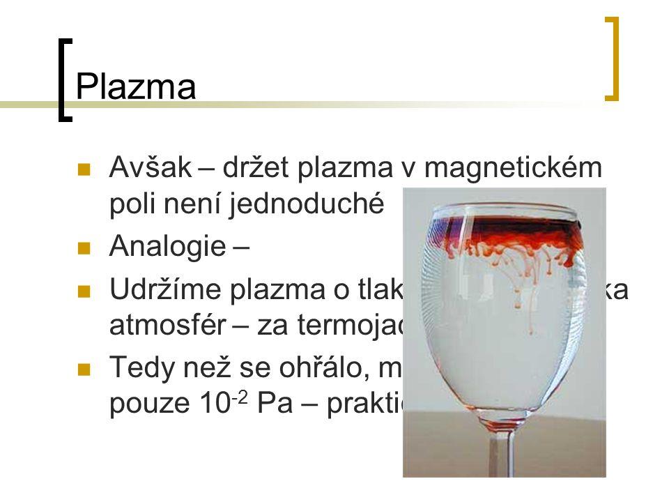Plazma Avšak – držet plazma v magnetickém poli není jednoduché Analogie – Udržíme plazma o tlaku pouze několika atmosfér – za termojaderných teplot Te