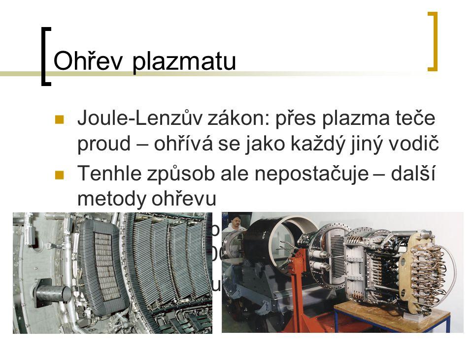 Ohřev plazmatu Joule-Lenzův zákon: přes plazma teče proud – ohřívá se jako každý jiný vodič Tenhle způsob ale nepostačuje – další metody ohřevu Není p