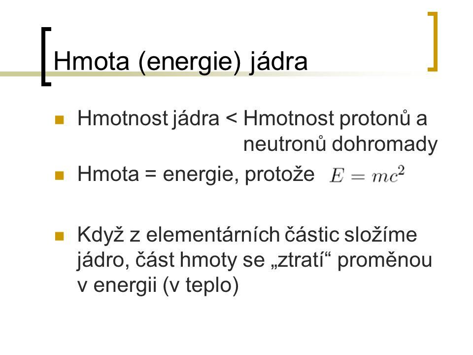 Hmota (energie) jádra Hmotnost jádra je tedy jiná než osamocených elementárních částic Aby v tom byl větší zmatek – v každém prvku je tenhle rozdíl jiný Znamená to tedy, že u některých jader se muselo anihilovat více hmoty, aby se utvořila