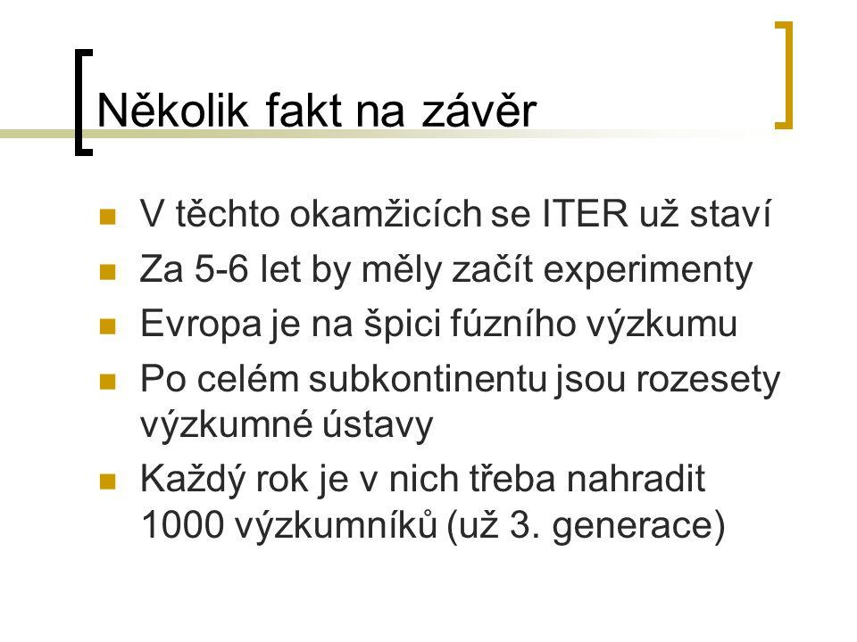 Několik fakt na závěr V těchto okamžicích se ITER už staví Za 5-6 let by měly začít experimenty Evropa je na špici fúzního výzkumu Po celém subkontine