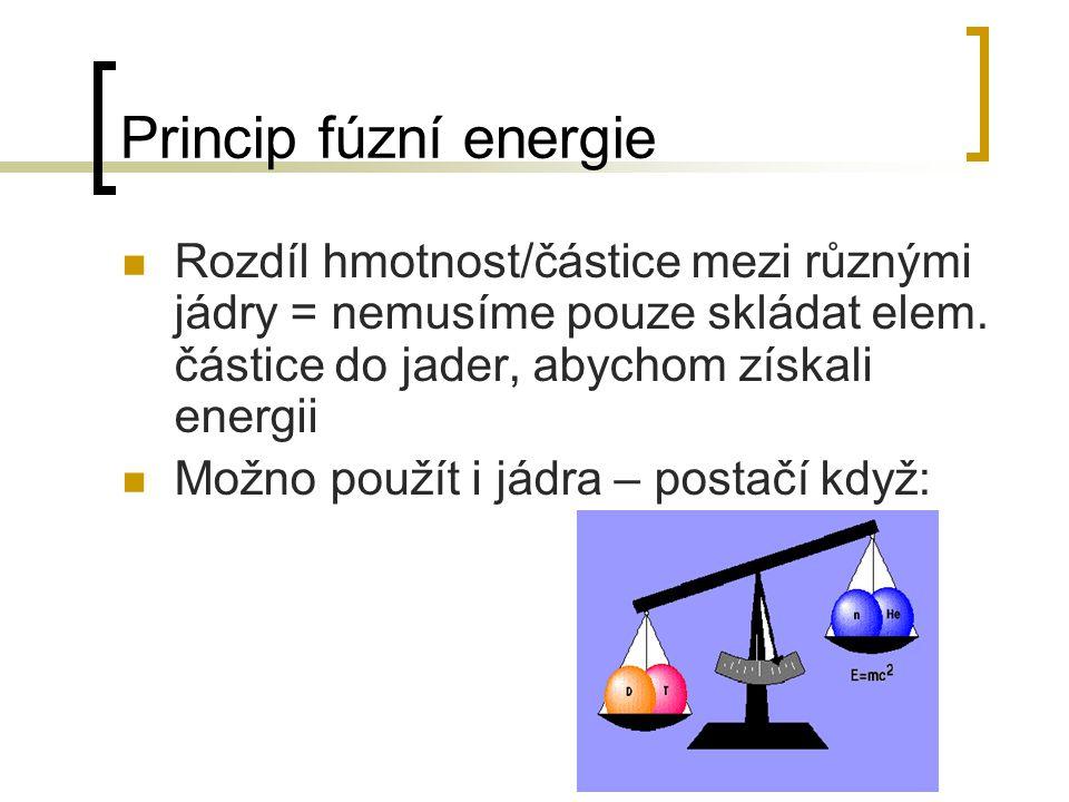Princip fúzní energie Rozdíl hmotnost/částice mezi různými jádry = nemusíme pouze skládat elem. částice do jader, abychom získali energii Možno použít