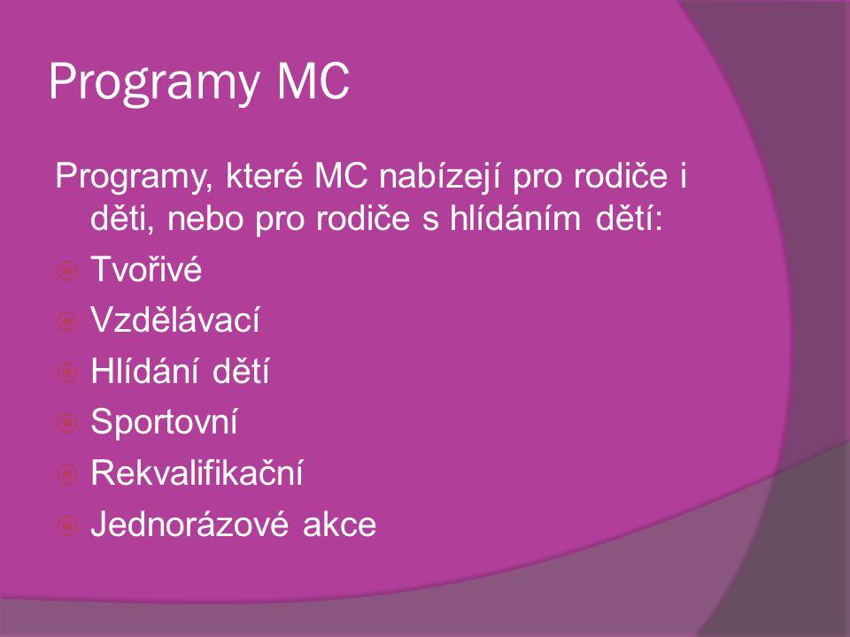 Programy MC Programy, které MC nabízejí pro rodiče i děti, nebo pro rodiče s hlídáním dětí:  Tvořivé  Vzdělávací  Hlídání dětí  Sportovní  Rekvalifikační  Jednorázové akce