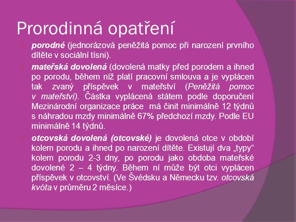 Prorodinná opatření  porodné (jednorázová peněžitá pomoc při narození prvního dítěte v sociální tísni).