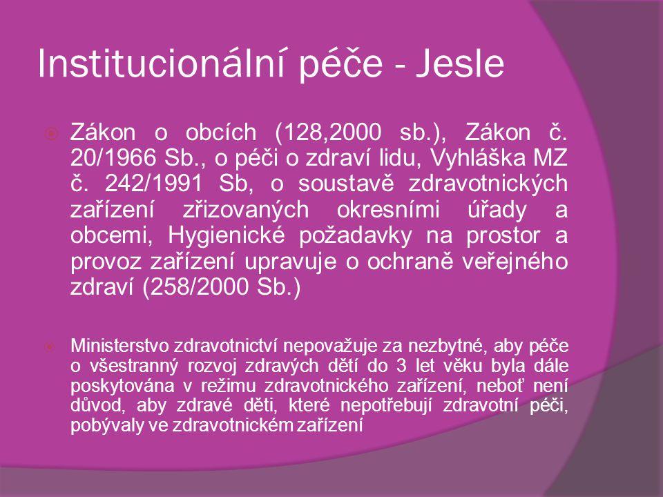 Institucionální péče - Jesle  Zákon o obcích (128,2000 sb.), Zákon č.