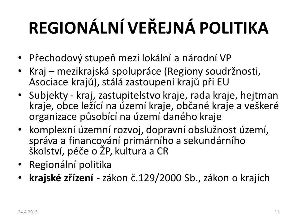 REGIONÁLNÍ VEŘEJNÁ POLITIKA Přechodový stupeň mezi lokální a národní VP Kraj – mezikrajská spolupráce (Regiony soudržnosti, Asociace krajů), stálá zas