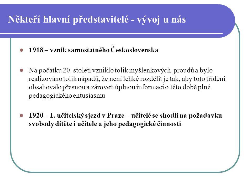 Někteří hlavní představitelé - vývoj u nás 1918 – vznik samostatného Československa Na počátku 20. století vzniklo tolik myšlenkových proudů a bylo re
