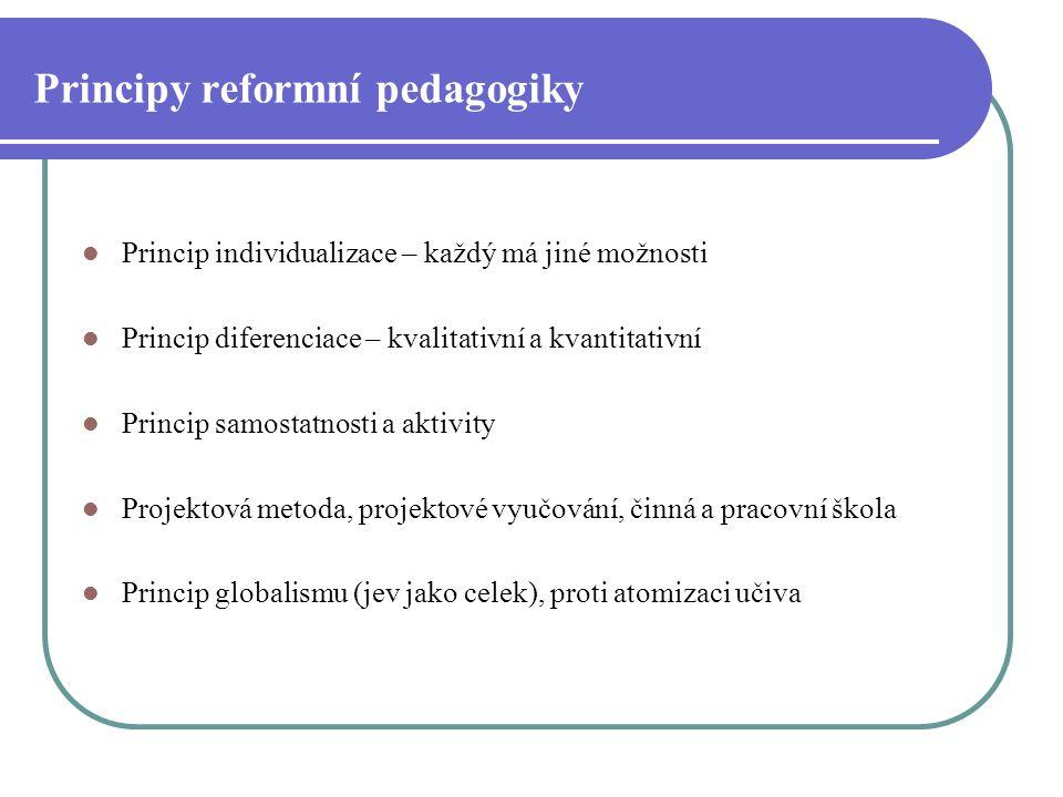 Principy reformní pedagogiky Princip individualizace – každý má jiné možnosti Princip diferenciace – kvalitativní a kvantitativní Princip samostatnost