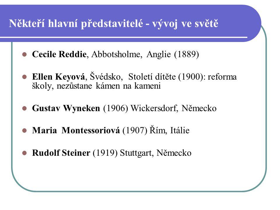 Někteří hlavní představitelé - vývoj ve světě Cecile Reddie, Abbotsholme, Anglie (1889) Ellen Keyová, Švédsko, Století dítěte (1900): reforma školy, n
