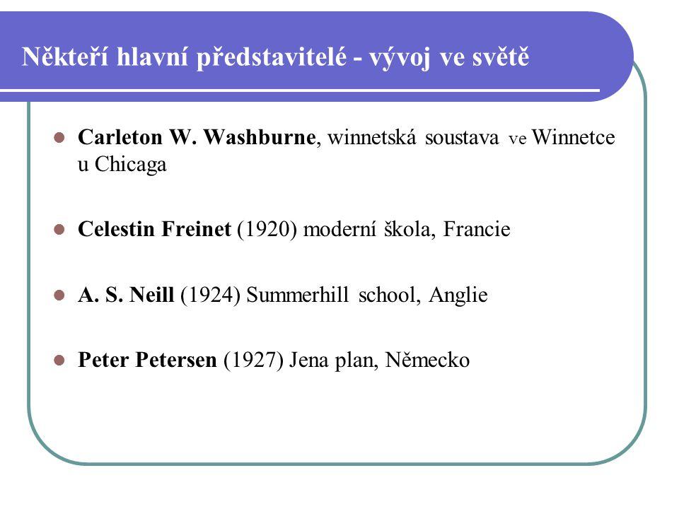 Někteří hlavní představitelé - vývoj ve světě Carleton W. Washburne, winnetská soustava ve Winnetce u Chicaga Celestin Freinet (1920) moderní škola, F