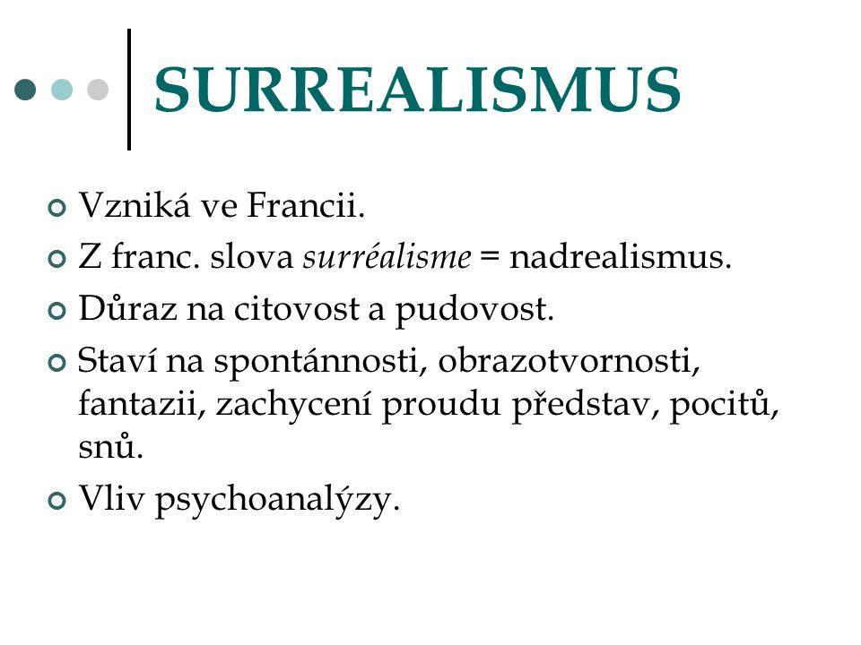 SURREALISMUS Vzniká ve Francii. Z franc. slova surréalisme = nadrealismus. Důraz na citovost a pudovost. Staví na spontánnosti, obrazotvornosti, fanta