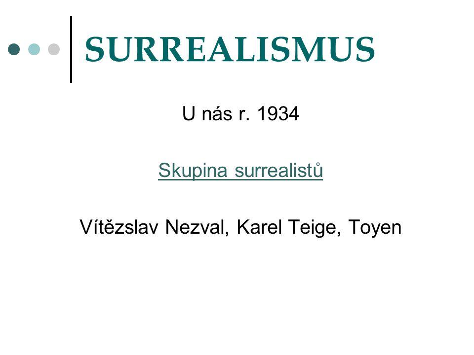 SURREALISMUS U nás r. 1934 Skupina surrealistů Vítězslav Nezval, Karel Teige, Toyen