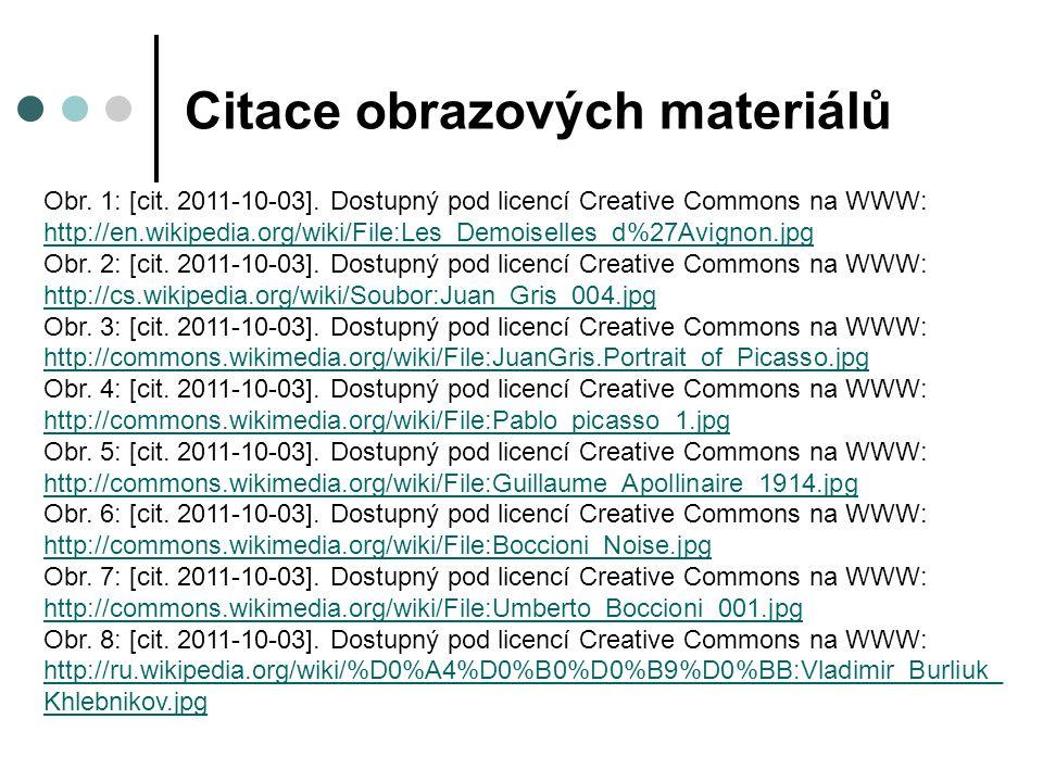 Citace obrazových materiálů Obr. 1: [cit. 2011-10-03]. Dostupný pod licencí Creative Commons na WWW: http://en.wikipedia.org/wiki/File:Les_Demoiselles