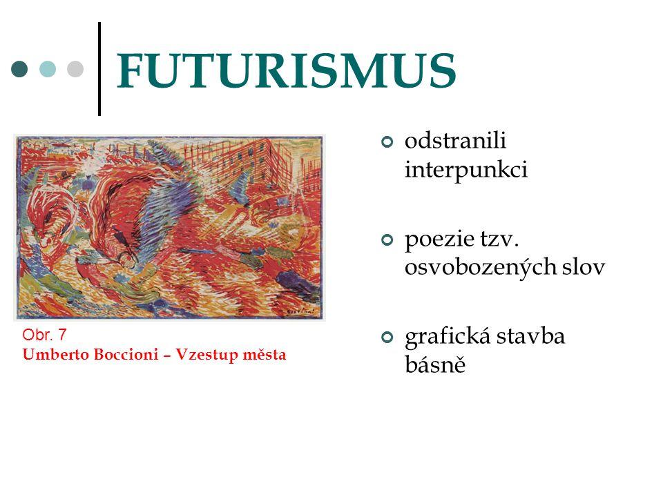 FUTURISMUS odstranili interpunkci poezie tzv. osvobozených slov grafická stavba básně Obr. 7 Umberto Boccioni – Vzestup města