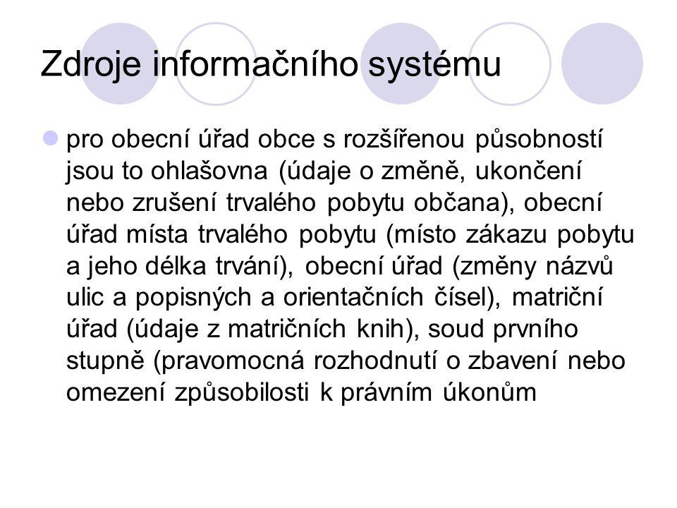 Zdroje informačního systému pro obecní úřad obce s rozšířenou působností jsou to ohlašovna (údaje o změně, ukončení nebo zrušení trvalého pobytu občan