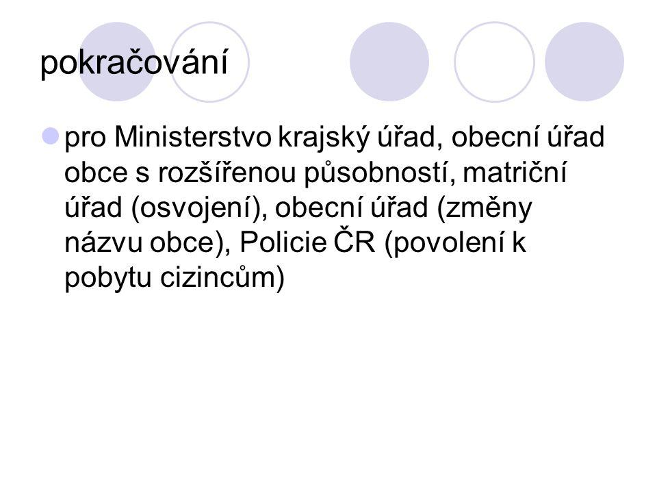 pokračování pro Ministerstvo krajský úřad, obecní úřad obce s rozšířenou působností, matriční úřad (osvojení), obecní úřad (změny názvu obce), Policie
