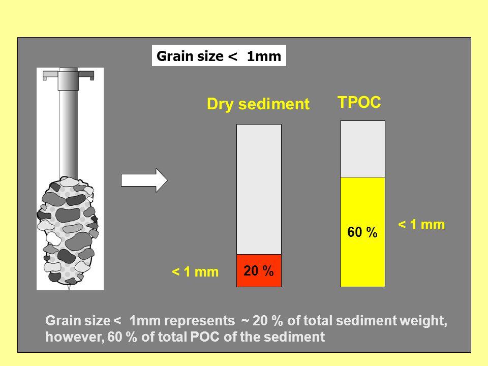 Grain size fraction < 1 mm 1 : 9 < 0.063 mm 0.063 < 1 mm Parameter fine fraction (n) coarse fraction (n) TPOC (mg.