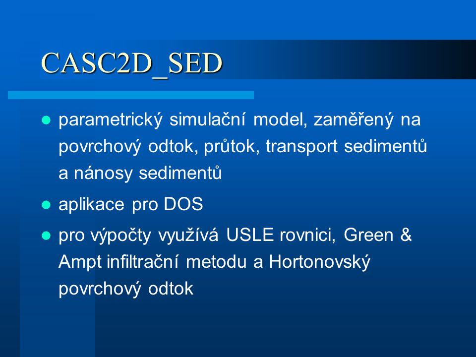 CASC2D_SED parametrický simulační model, zaměřený na povrchový odtok, průtok, transport sedimentů a nánosy sedimentů aplikace pro DOS pro výpočty využ