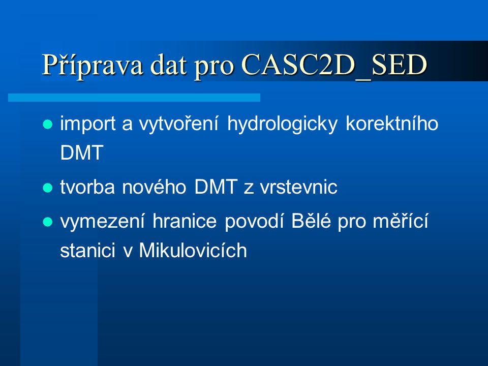 Příprava dat pro CASC2D_SED import a vytvoření hydrologicky korektního DMT tvorba nového DMT z vrstevnic vymezení hranice povodí Bělé pro měřící stani
