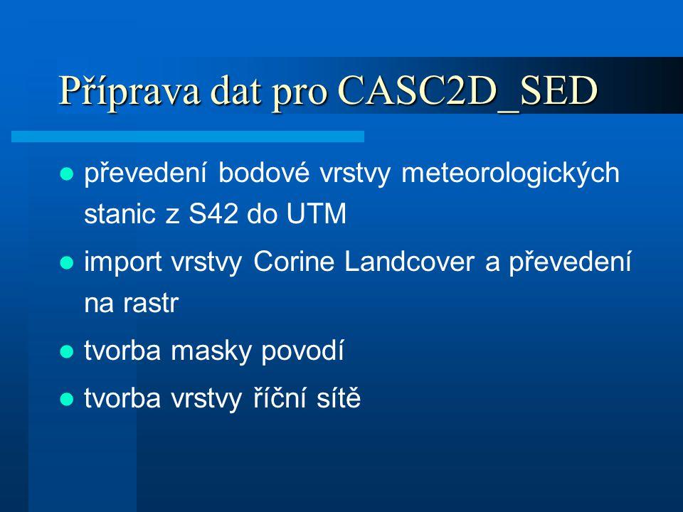 Příprava dat pro CASC2D_SED převedení bodové vrstvy meteorologických stanic z S42 do UTM import vrstvy Corine Landcover a převedení na rastr tvorba ma