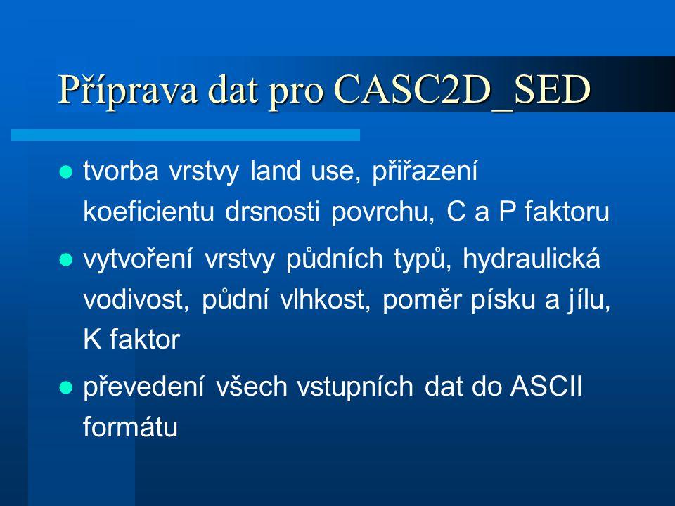 Příprava dat pro CASC2D_SED tvorba vrstvy land use, přiřazení koeficientu drsnosti povrchu, C a P faktoru vytvoření vrstvy půdních typů, hydraulická v