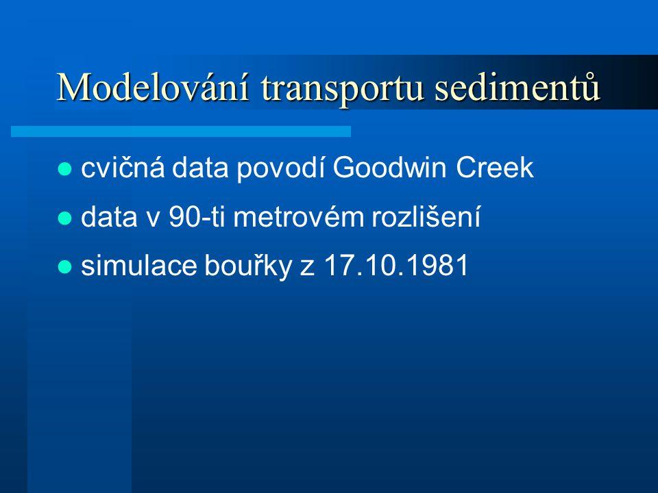 Modelování transportu sedimentů cvičná data povodí Goodwin Creek data v 90-ti metrovém rozlišení simulace bouřky z 17.10.1981