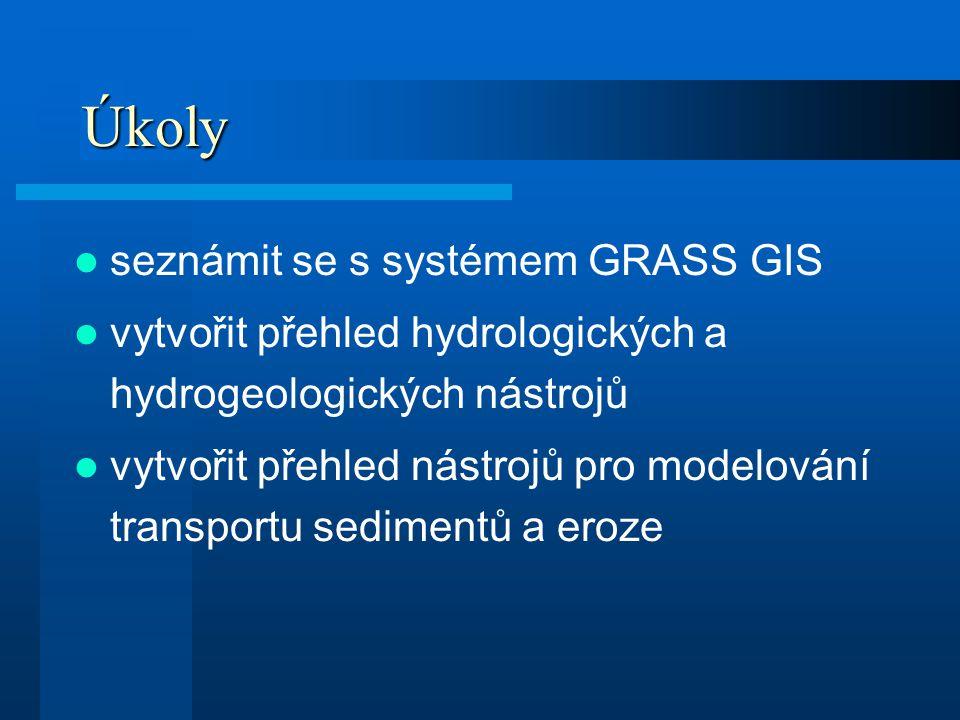Úkoly seznámit se s systémem GRASS GIS vytvořit přehled hydrologických a hydrogeologických nástrojů vytvořit přehled nástrojů pro modelování transport