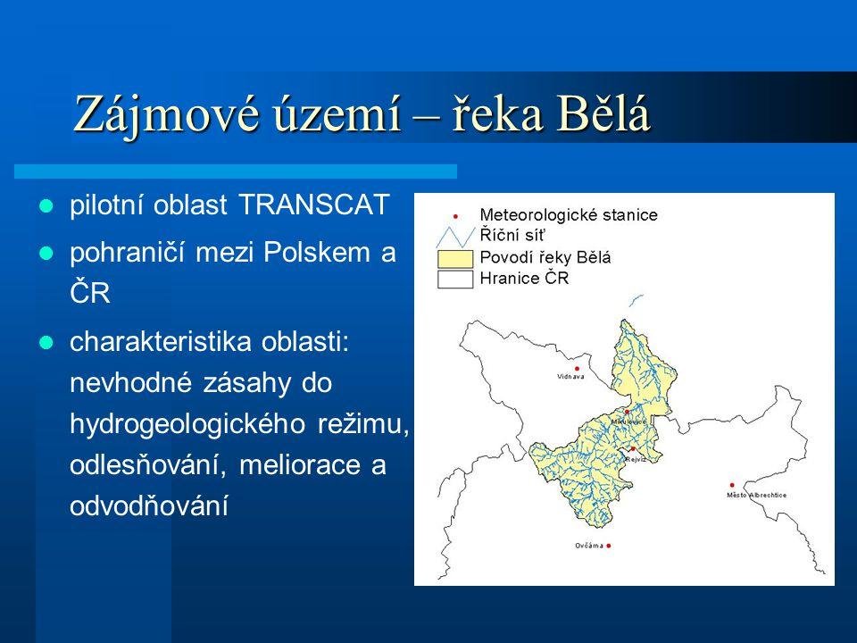 Zájmové území – řeka Bělá pilotní oblast TRANSCAT pohraničí mezi Polskem a ČR charakteristika oblasti: nevhodné zásahy do hydrogeologického režimu, od