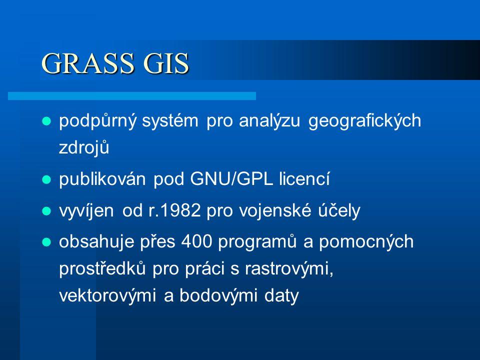 GRASS GIS podpůrný systém pro analýzu geografických zdrojů publikován pod GNU/GPL licencí vyvíjen od r.1982 pro vojenské účely obsahuje přes 400 progr