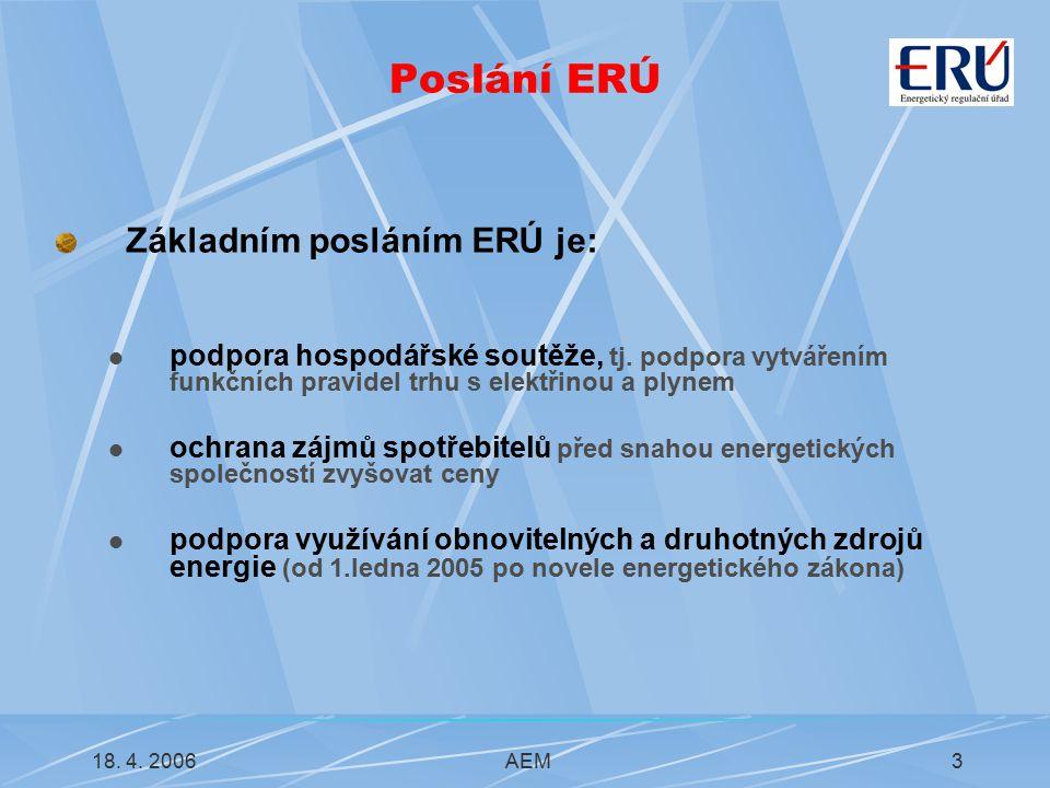 18. 4. 2006AEM3 Poslání ERÚ Základním posláním ERÚ je: podpora hospodářské soutěže, tj.