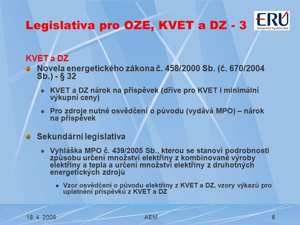 18. 4. 2006AEM6 Legislativa pro OZE, KVET a DZ - 3 KVET a DZ Novela energetického zákona č.