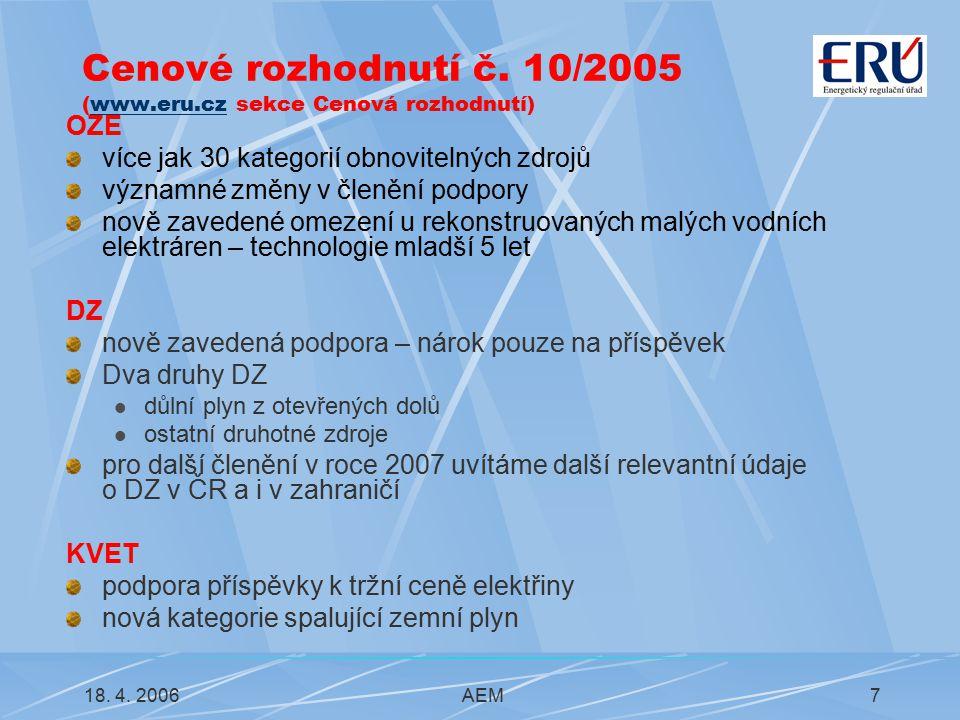 18.4. 2006AEM8 Změna CR č. 10/2005 – CR č.