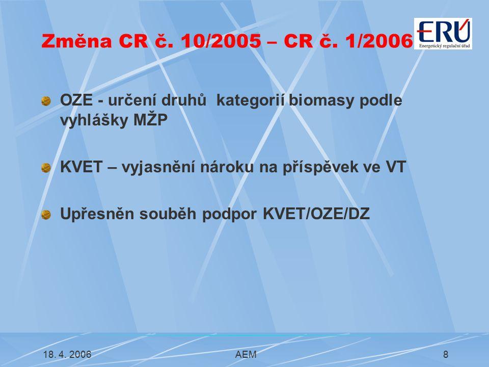 18. 4. 2006AEM8 Změna CR č. 10/2005 – CR č.