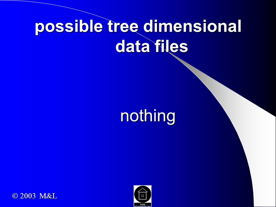 possible tree dimensional data files nothing  2003 M&L