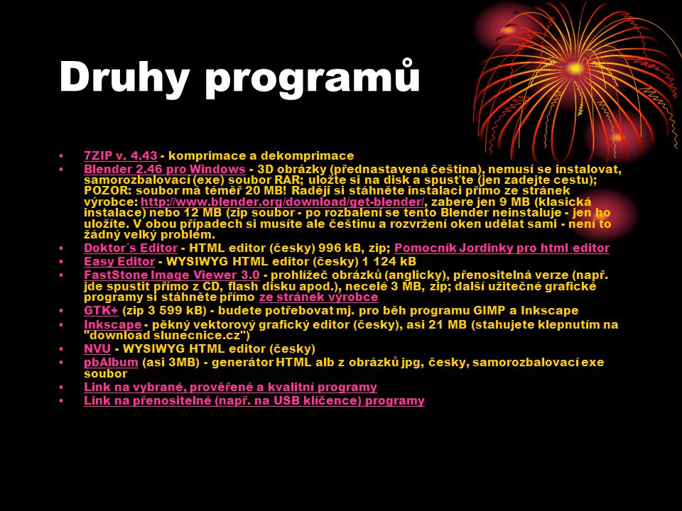 Druhy programů 7ZIP v. 4.43 - komprimace a dekomprimace7ZIP v.