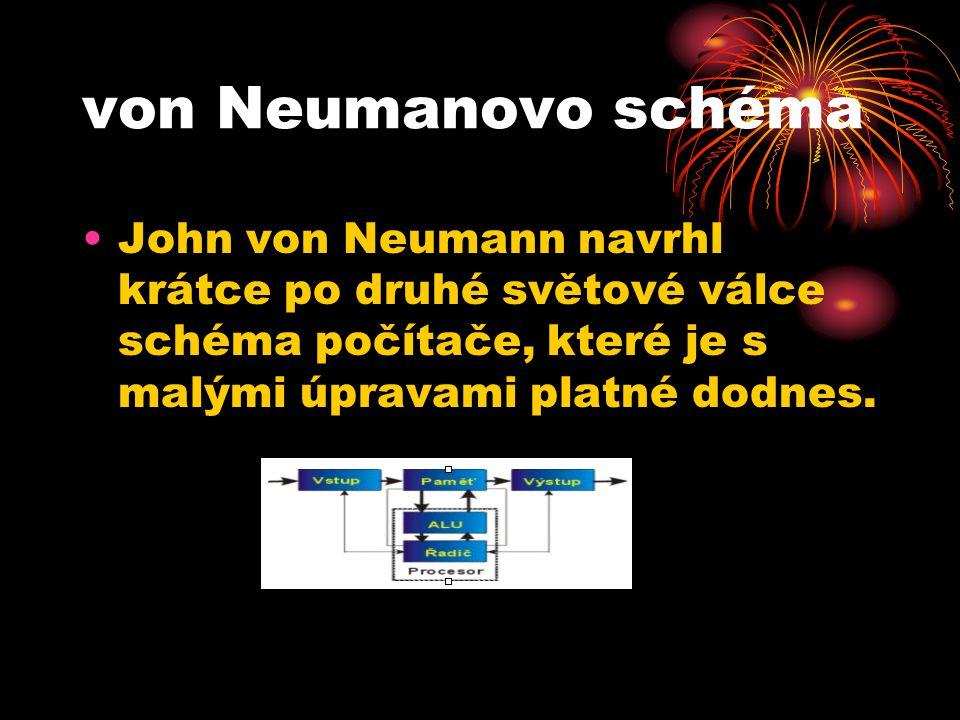 von Neumanovo schéma John von Neumann navrhl krátce po druhé světové válce schéma počítače, které je s malými úpravami platné dodnes.