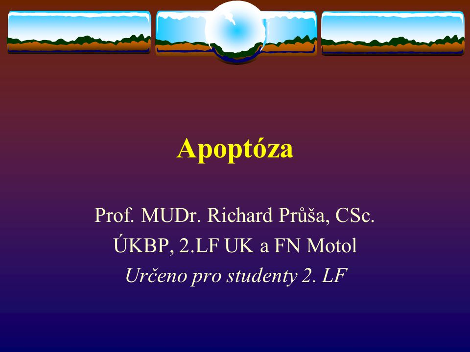 Apoptóza Prof. MUDr. Richard Průša, CSc. ÚKBP, 2.LF UK a FN Motol Určeno pro studenty 2. LF