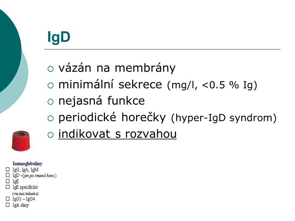 IgD  vázán na membrány  minimální sekrece (mg/l, <0.5 % Ig)  nejasná funkce  periodické horečky (hyper-IgD syndrom)  indikovat s rozvahou