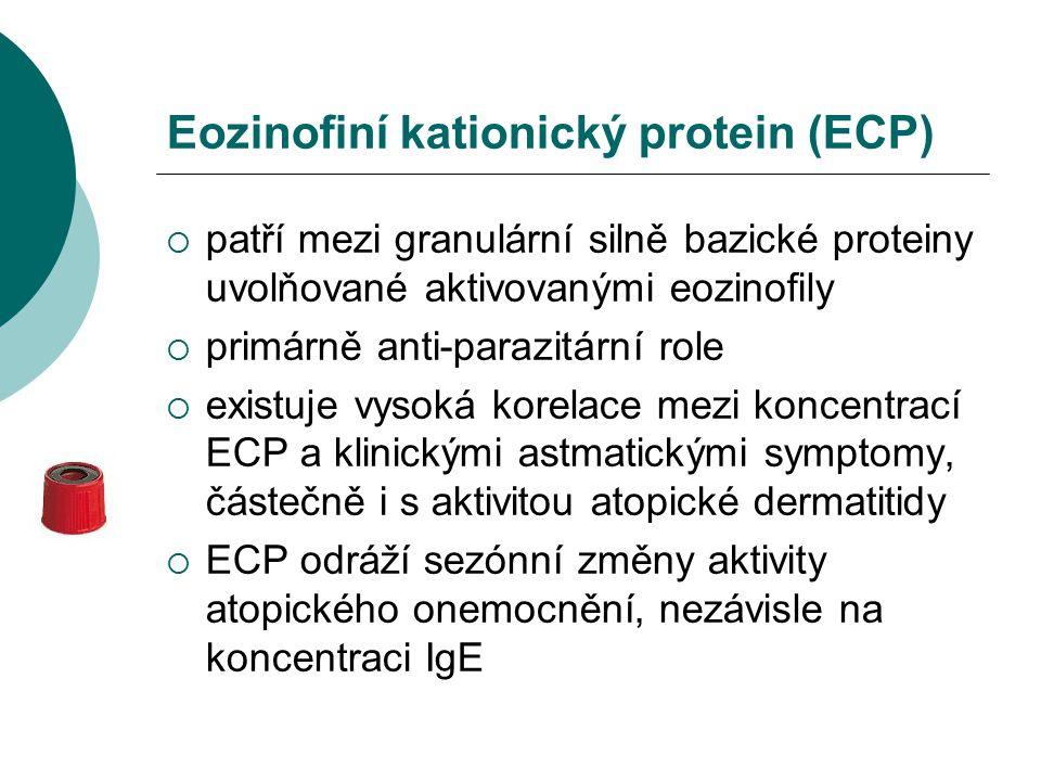 Eozinofiní kationický protein (ECP)  patří mezi granulární silně bazické proteiny uvolňované aktivovanými eozinofily  primárně anti-parazitární role  existuje vysoká korelace mezi koncentrací ECP a klinickými astmatickými symptomy, částečně i s aktivitou atopické dermatitidy  ECP odráží sezónní změny aktivity atopického onemocnění, nezávisle na koncentraci IgE