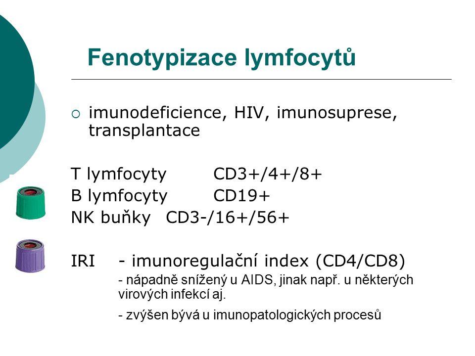 Fenotypizace lymfocytů  imunodeficience, HIV, imunosuprese, transplantace T lymfocyty CD3+/4+/8+ B lymfocyty CD19+ NK buňky CD3-/16+/56+ IRI - imunoregulační index (CD4/CD8) - nápadně snížený u AIDS, jinak např.