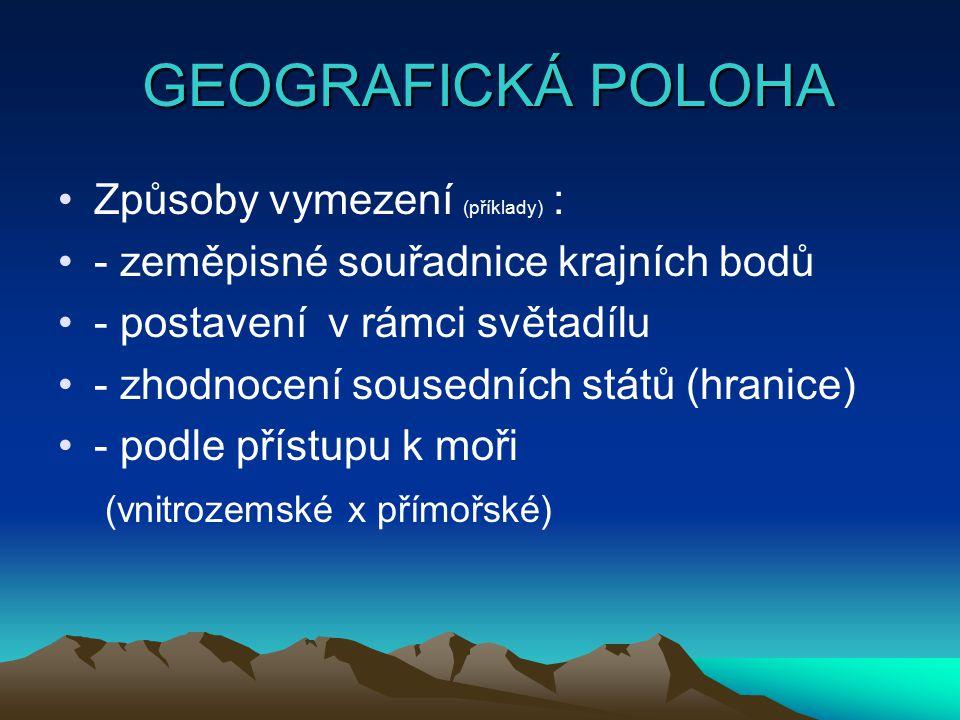 GEOGRAFICKÁ POLOHA GEOGRAFICKÁ POLOHA Způsoby vymezení (příklady) : - zeměpisné souřadnice krajních bodů - postavení v rámci světadílu - zhodnocení so