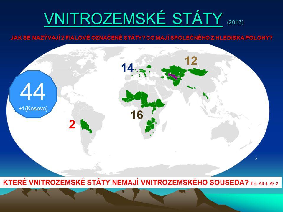 VNITROZEMSKÉ STÁTY VNITROZEMSKÉ STÁTYVNITROZEMSKÉ STÁTYVNITROZEMSKÉ STÁTY EVROPA (14 + 1) Střední Evropa a Balkán (8 + 1) : Slovensko, Česká republika, Maďarsko, Lichtenštejnsko, Rakousko, Švýcarsko, Makedonie a Srbsko, + KosovoSlovenskoČeská republikaMaďarsko LichtenštejnskoRakouskoŠvýcarskoMakedonieSrbsko Kosovo Evropa - bez vnitrozemského souseda (6) : Andorra, Belarus, Lucembursko, Moldova, San Marino, VatikánAndorraBelarusLucembursko MoldovaSan MarinoVatikán ASIE (12) Střední Asie (6) : Afghánistán, Kazachstán, Kyrgyzstán, Tádžikistán, Turkmenistán, UzbekistánAfghánistánKazachstánKyrgyzstánTádžikistán TurkmenistánUzbekistán Kavkazské státy (2) : Arménie, ÁzerbájdžánArménieÁzerbájdžán Asie - bez vnitrozemského souseda (4) : Bhútán, Laos, Mongolsko, NepálBhútánLaosMongolskoNepál AFRIKA (16) Střední Afrika (7): Burkina Faso, Středoafrická Republika, Čad, Mali, Niger, Jižní Súdán, EtiopieBurkina FasoStředoafrická RepublikaČadMaliNiger Jižní SúdánEtiopie Jižní Afrika (4): Botswana, Malawi, Zambie, ZimbabweBotswanaMalawiZambieZimbabwe Východní Afrika (3): Burundi, Rwanda, UgandaBurundiRwandaUganda Afrika - bez vnitrozemského souseda (2) : Lesotho, SvazijskoLesothoSvazijsko JIŽNÍ AMERIKA (2): Bolívie, Paraguay BolívieParaguay