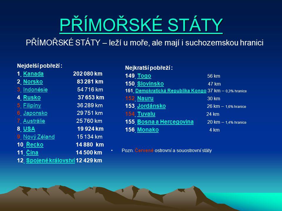 PŘÍMOŘSKÉ STÁTY PŘÍMOŘSKÉ STÁTY Nejkratší pobřeží : 149 Togo 56 km Togo 150 Slovinsko 47 km Slovinsko 151 Demokratická Republika Kongo 37 km – 0,3% hr
